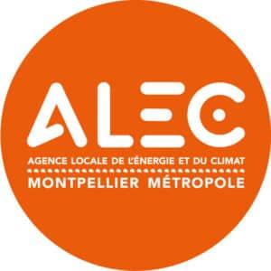 Logo ALEC montpellier Métropole blanc dans rond orange