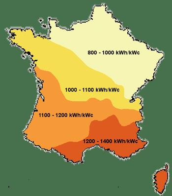 Carte de France du Pohotovoltaïque
