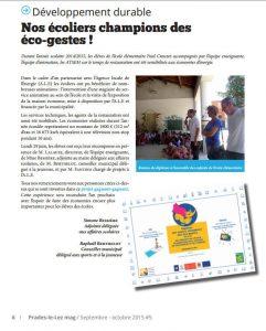 Les Éco'minots dans le jounal de Prades-le-Lez en 2015