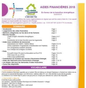 Aides financières Occitanie 2018