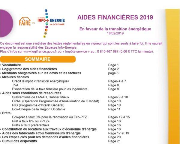 Aperçu synthèse aides financières 2019