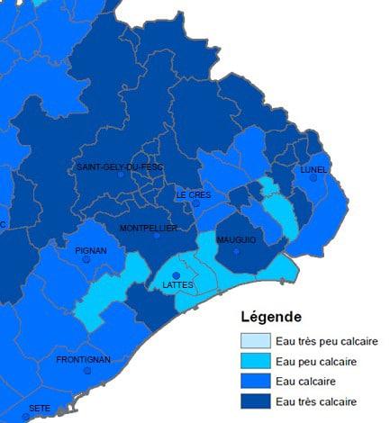 Carte dureté de l'eau Metropole Montpellier