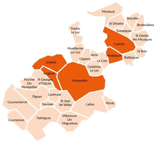 Carte des participants au défi des éco'minots 2019 - 2020
