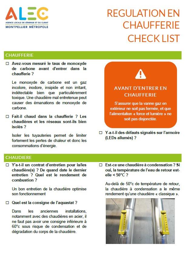 Checklist régulation chaufferie